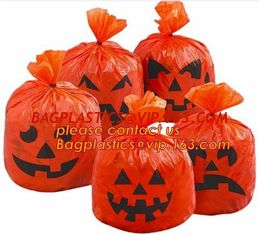 China Halloween lawn and leaf bags for Halloween outdoor decoration,DELUXE GLOW IN THE DARK Pumpkin Leaf/Lawn/Yard bags bageas supplier