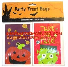 China Halloween CPP plastic Cello Treat Bag with black twist ties,Pumpkin Bag Kids Candy Bag For Children Handhold bag Festiva supplier