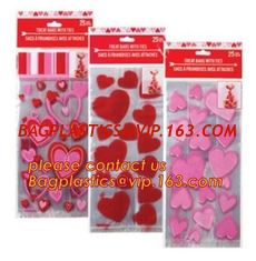 China Decorative Candy Cello Bag Valentine's Day Clear Plastic Treat Bag,valentine's day Promotion gift colorful heart silicon supplier