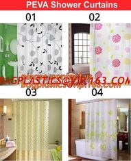 China Home goods pure white shower curtains with plastic hook, Custom Printed Shower Curtain, bathroom curtain bagplastics bag supplier
