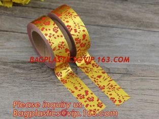 China foil tape custom printed decorative washi foil tape,Assorted Designs Christmas Washi Masking Tape,Logo Printed Gold Foil supplier