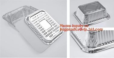China Custom Printing Logo Disposable Rectangular Aluminum Foil Food Takeaway Container with paper lid,Disposable Durable Alum supplier
