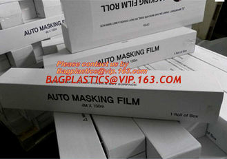 China PE Plastic masking taped protective film for paint protection, Easy Tearing Tissue Paper Auto Paint Masking Film supplier