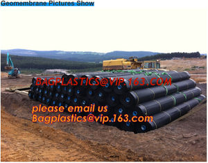 China Environmental Protection hdpe smooth fish farm pond liner geomembrane,Drain board Geocell Geogrid Geomembrane Geonet PAC supplier