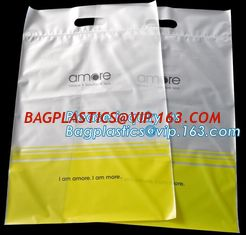 China Custom printed die cut handle plastic bags manufacturer 12 x 15 inch light green promotional recycle grocery shopping ba supplier