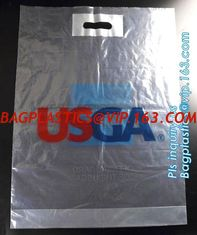 China 100% oxo biodegradable printed die cut handle plastic clothes bag and 50 micron clothes plastic carry packaging bag logo supplier