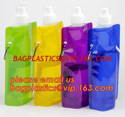 China portable foldable water bottle / folding water bag,BPA Free Stand Up Spout Portable Foldable Water Bottle/Bag With Carab supplier