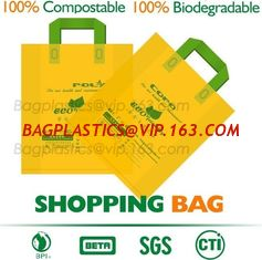 China 100% Compostable Shopper, Biodegradable handle handy Carrier Eco Bio starch plant Biodegradable T-Shirt Bags With Logo supplier