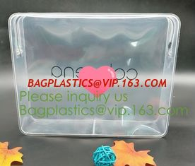 China nylon zipper pvc bag Promotional Customize Logo print Transparent PVC plastic clear cosmetic bag with non-woven zipper supplier