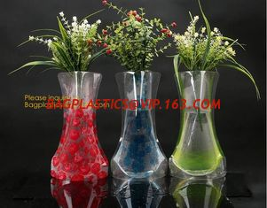 China small standup vase folding disposable plastic vinyl for wedding, Wide Transparent Vinyl Plastic Standup Flower Vase supplier