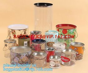 China OEM ODM Accepted 680ml Plastic PET Clear Round Can For Mint Storage,Clear 1 gallon PET paint can & lid with metal handle supplier