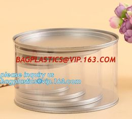 China PET Jar 85mm neck size food grade clear PET plastic Can screw type with aluminium easy open endsPackaging plastic can 25 supplier