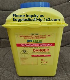 China OEM 3l 5l 10l 12l 21l 22l yellow hospital biohazard medical needle disposal plastic safety sharps container supplier