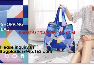 China Promotional Reusable Custom Design Colorful Polyester Folding Tote Shopping Bag,Portable Recycled Polyester Nylon Reusab supplier