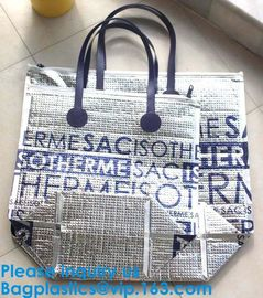 China Silver Aluminium Foil Cake Pizza Carrier Insulated Thermal Lunch Picnic Bag Cooler Bag,Insulated Wine Cooler Bag/Wholesa supplier