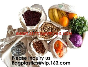 China Reusable Produce Bags of Unmatched Quality - Natural Cotton Mesh is Biodegradable,Cotton Packing Bags For Fruit & Vegeta supplier