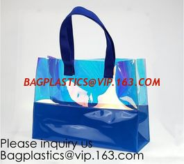 China Vinyl Transparent PVC Gusset Bag Plastic Tote Shopping Bag For Packaging TPU Laser Makeup Handbag PVC Cosmetic Shopping supplier