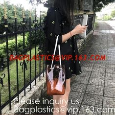 China Cheap Promotional Ecofriendly Reusable Clear Pvc Mesh Tote Reusable Shopping Bag,Shoulder Transparent Shopping Bag pack supplier