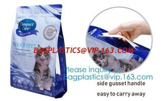 China 5 kg dog food handle bag Aluminum Foil Side Gusset Quad Sealed Dog Food Bag Stand Up Pet Feed Pouches Large PET FOOD PAC supplier