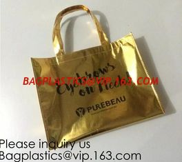China Golden pac Bling Bling Glossy Durable Reusable Medium Non-woven Gift Bag Set Of 5,Shopping Bag,Promotional Bag Silvery supplier