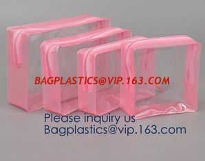 China TSA Approved Clear Travel Toiletry Bag Holiday Cosmetic Bag PVC Makeup Bags Different Size 3 Pieces, bagease, bagplastic supplier