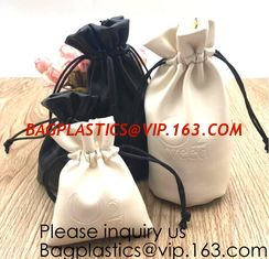 China Custom Logo Acceptable Multi Sizes Black Drawstring PU Leather Promotional Gifts Pouches Bags Jewelry, Gift,Hair, Shoes, supplier
