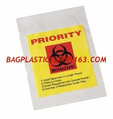 China Biohazard 4 Layer Specimen Transport bag, pe glove, pe packaging, pe bags on roll, disposable PE gloves, disposable bag supplier