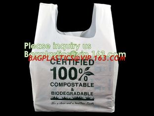 China corn starch based 100% biodegradable bag for food packaging T shirt bags, vest carrier, handle handy bags, singlet pac supplier