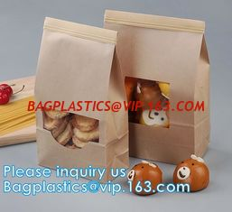 China Tin tie tea pouch bag, coffee bean packaging stand up ziplock kraft paper tea paper bag with window Cookie choco pouch supplier