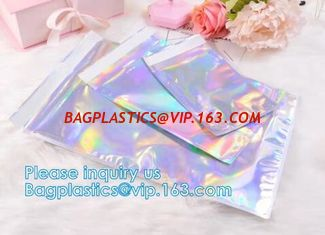 China Bagease Holographic Shinny Mylar bags Eyelash Kit Cosmetic Packaging Bag self-adhesive bag laser hologram neon bags supplier