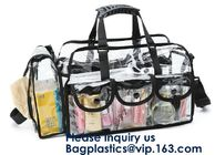 China Professional Clear Makeup Cosmetic Bag PVC Carry Bag With 7 Extra Magnet Pockets And Detachable Shoulder Strap factory