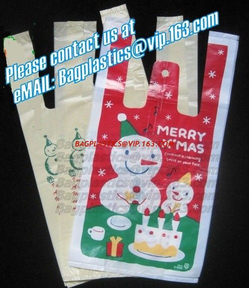 Christmas bag t shirt bag carry out bags handy handle for Holiday t shirt bags