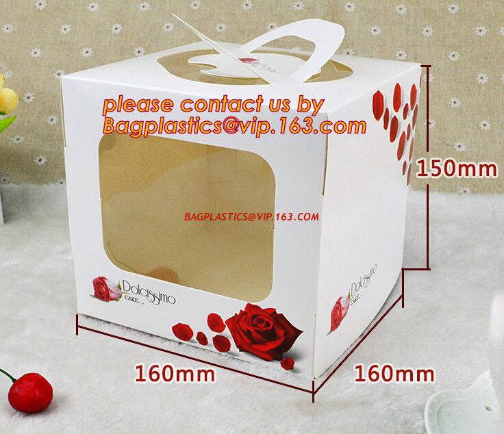 Disposable Paper Cardboard Birthday Cake Boxes Food Packaging White