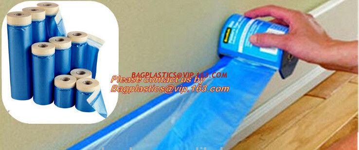 china plastic drop cloth pe drop cloth plastic masking film taped clear hdpe