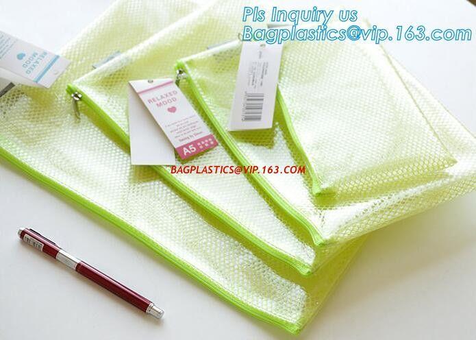 A3,A4,A5,B4,B5,B6,B8 file folder clear mesh bag printed logo document folder with zipper, Waterproof Tear-resistant Blac