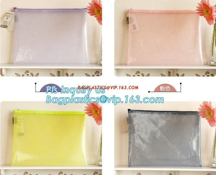 China custom brand pvc mesh zippered bag, zipper document file bag with logo printed,