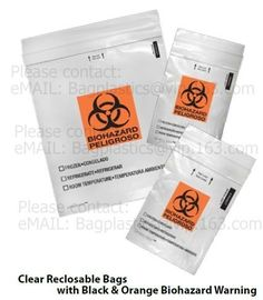 Biohazard bags, zip pocket, deposit bag, coin bag, bank supplies, self seal bag, adhensive
