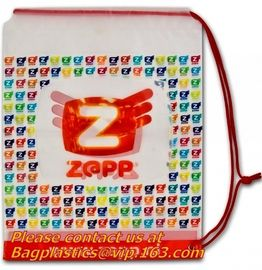 PE Printed Hard, drawstring bags, Soft Loop Plastic Handle Bag with side gusset