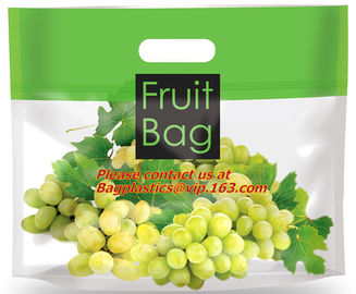 high transparent plastic bag for grape, plastic material and zipper to sealing transparent