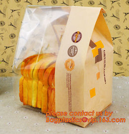 Customize Translucent Window Brown Greaseproof Kraft Paper Bag Special Opp Window Shape, window bags, greaseproof paper