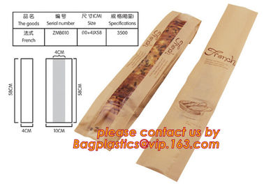 Clear Window bleached kraft paper bag bread bag, paper kraft bag, French Baguette bread paper bag, Long Size Toast Bags,