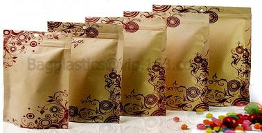 100% Food Grade Customized Recyclable Eco Zipper Eight Side Sealed Biodegradable Paper Bag For Food Packing, Brown kraft