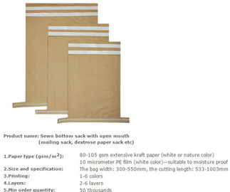 charcoal paper sacks, animal feed paper sacks, dextrose & medicine paper sacks, sugar paper sacks, Wheat packing bags