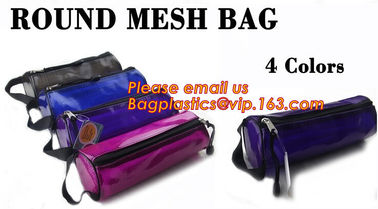Custom cotton printed plastic waterproof pencil bag PVC pencil case with zipper, round mesh bags,