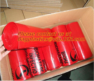 Printed Plastic Biohazard Garbage Bag for hospital Waste, compostable Autoclave Bags, Biodegradeable Medical Biohazard