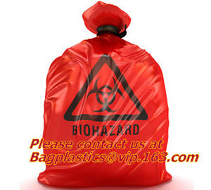 HDPE/LDPE Plastic Strength Red Black Biohazard Waste Garbage Bag on roll Printed noted