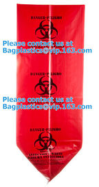 Customized LDPE 40-45 gallon red isolation infectious waste bag biohazard bag linear