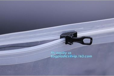 metal packaging slider zipper bag, Slider Zipper PVC Pouch Clear Vinyl PVC Ziplock Bag, polyvinyl chloride material plas