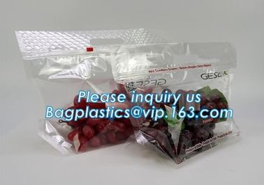China frosted reclosable zipper plastic bags with slider ziplock, round bottom slider grape bag/table grape bag used in graper factory