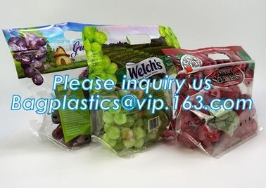 packing bag ziplock slider storage bags with white block, Perforated Standup Bags Fresh Fruit with Cheap Price, zippe